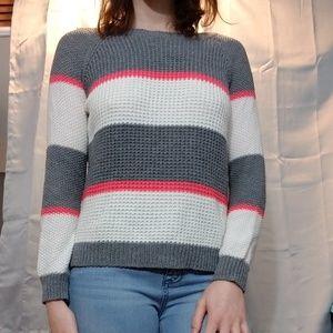 Grey block striped sweater